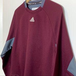 NWT Adidas Dugout Fleece Maroon & Gray Sweatshirt